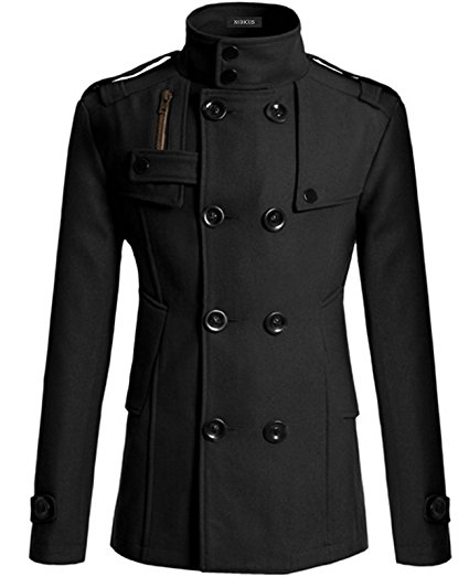 Nidicus Mens Casual Military Style Double Breasted Button Slim Fit Pea Coat