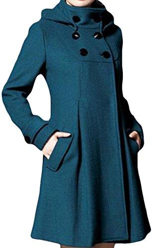 Jaycargogo Women's Winter Double-breasted Wool Hooded Pea Coat