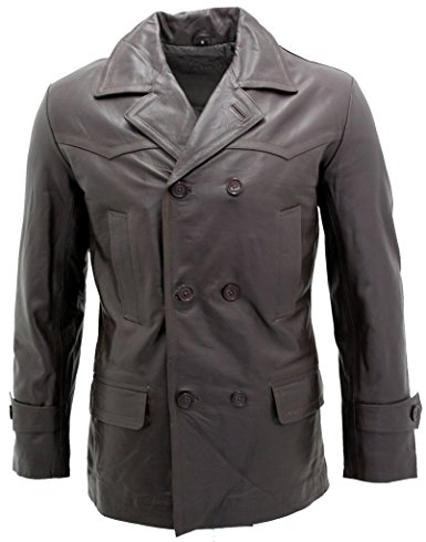 Men's Brown German Naval Dr Who Cow Hide Leather Pea Coat
