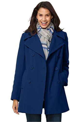 Women's Plus Size Wool-Blend Double-Breasted Peacoat
