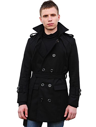 Allegra K Men Peaked Lapel Fold-down Collar Double-Breasted Full Lined Worsted Pea Coat