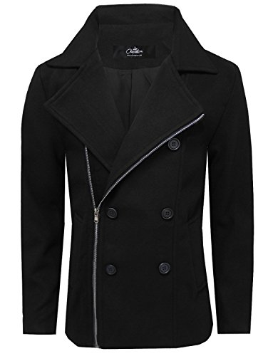 La Chaqueteria Mens Stylish Wool Blend Zipper Double Breasted Pea Coat