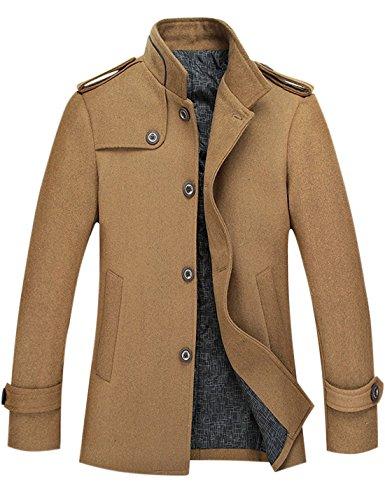 Tanming Men's Stylish Single Breasted Wool Blend Pea Coat Mutiple Colors