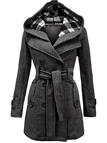 Envy Boutique Women's Military Button Hooded Fleece Belted Jacket