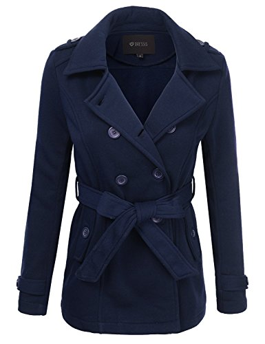 DRESSIS Women's Double Breasted Trench Peacoat Jacket
