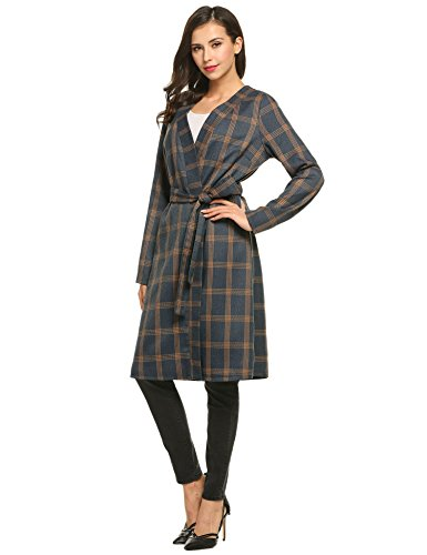 Zeagoo Women Fashion Collarless Long Sleeve Plaid Belted Long Coat Outwear