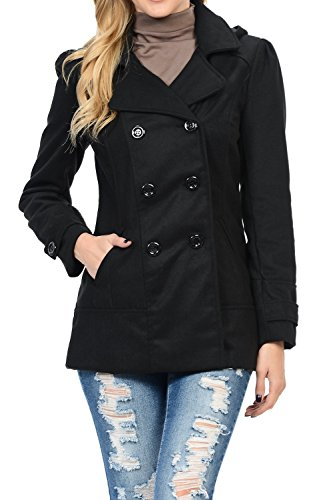 Womens Double Breasted Wool Blend Hooded Pea Coat