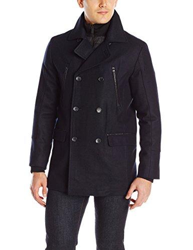 Calvin Klein Men's Wool Pea Coat with Bib and Chest Zip Detail