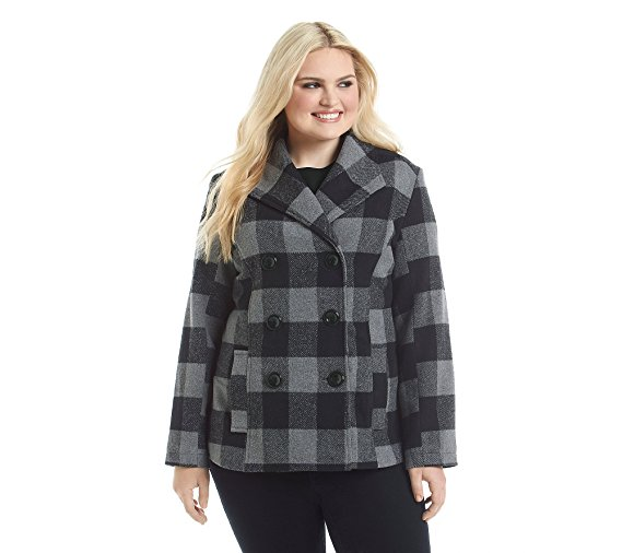 Rampage Plus Size Plaid Basic Peacoat