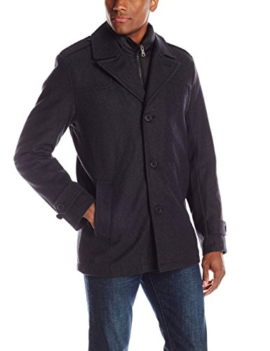 Tommy Hilfiger Men's Wool-Blend Melton Single-Breasted Peacoat with Bib