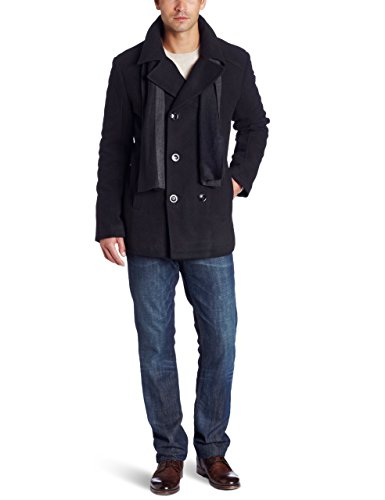 Kenneth Cole REACTION Men's Plush Peacoat With Scarf