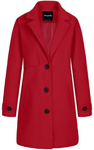 Wantdo Women's Single Breasted Solid Color Classic Wool Blend Pea Coat