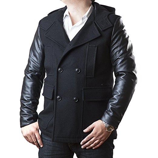 Sean John Men's Double Breasted Peacoat with Faux-Leather Sleeves and Hood