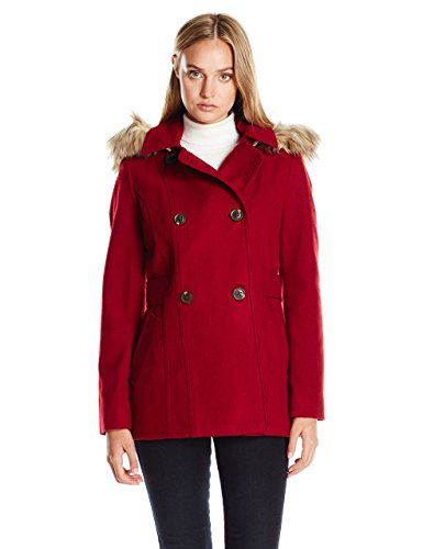 Nautica Women's Mid-Length Peacoat with Faux Fur Hood