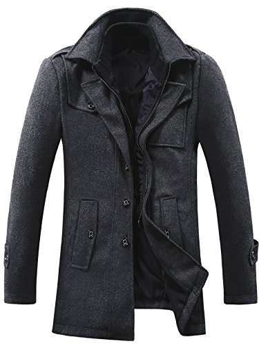 GARSEBO Men's Wool Blend Pea Coat Stand Collar Windproof Jacket