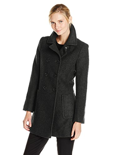 T Tahari Women's Double-Breasted Wool-Blend Boucle Coat