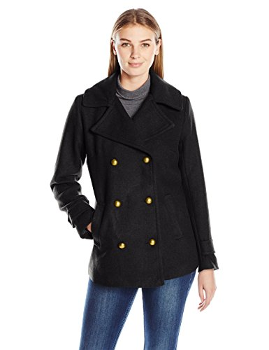 Jason Maxwell Women's Basic Peacoat with Military Dome Button