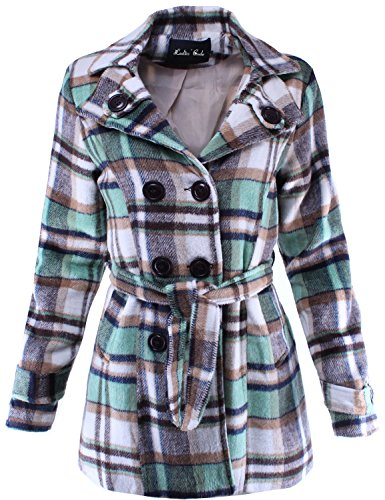 Ladies' Code Women's Double Breasted Plaid Wool Trench Coat Peacoat