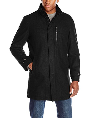 Perry Ellis Men's 35-Inch Wool-Blend Zip-Front Coat with Snap Placket