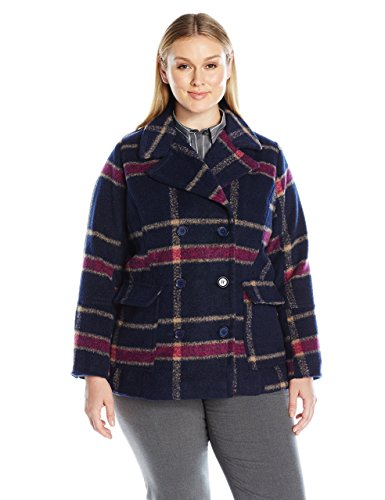 Jason Maxwell Women's Plus Size Basic Plaid Peacoat with Button
