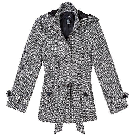 Nicole Miller Womens Wool Blend Pea Coat - Detachable Hood - Zip Up Front with Self Tie Belt