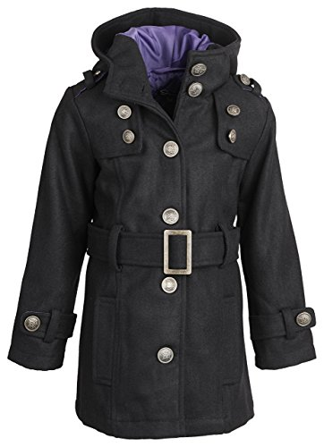 Shampoo Little Girls Hooded Dressy Wool Pea Coat with Metal Buttons and Buckle