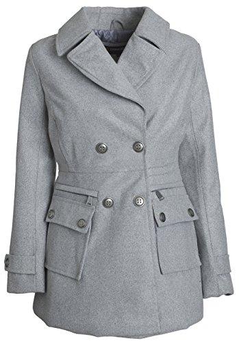 Urban Junior Women Classic Wool Look Padded Winter Dress Peacoat Jacket Pea Coat